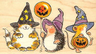 Hedgehog HALLOWEEN HORROR TEAM Wood Mounted Rubber Stamp PENNY BLACK 4089K New