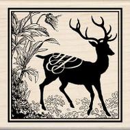 Heirloom Deer Buck Print Wood Mounted Rubber Stamp INKADINKADO New