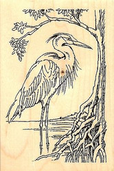 Heron Bird On Shore Line Wood Mounted Rubber Stamp STAMPENDOUS, NEW - P252