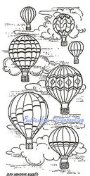 Hot Air Balloons Wood Mounted Rubber Stamp Northwoods Rubber Stamp New