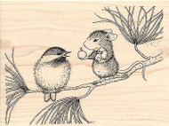 HOUSE MOUSE Berrying Gifts Christmas Wood Mounted Rubber Stamp STAMPENDOUS HMR03