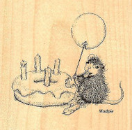 HOUSE MOUSE Birthday Donut Wood Mounted Rubber Stamp STAMPENDOUS HMQ13 New