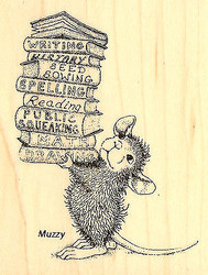 HOUSE MOUSE Books Stack School Wood Mounted Rubber Stamp STAMPENDOUS HMV08 New