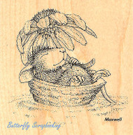 HOUSE MOUSE Flower Daisy Float Wood Mounted Rubber Stamp STAMPENDOUS HMQ04 New