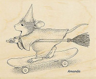 HOUSE MOUSE Halloween Witch Wood Mounted Rubber Stamp STAMPENDOUS HMV22 New