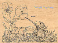 HOUSE MOUSE Painted Pansies Wood Mounted Rubber Stamp STAMPENDOUS HMR17 New