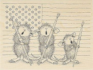 HOUSE MOUSE Patriotic Painters Wood Mounted Rubber Stamp STAMPENDOUS HMR33 New