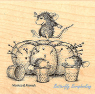 HOUSE MOUSE Sewing Pincushion Wood Mounted Rubber Stamp STAMPENDOUS HMQ06 New