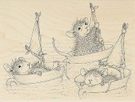 HOUSE MOUSE Teacup Sailing Mice Wood Mounted Rubber Stamp STAMPENDOUS HMR30 New