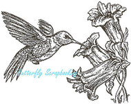 Hummingbird & Flower Wood Mounted Rubber Stamp Northwoods Rubber Stamp New