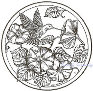 Hummingbird Morning Glory Circle Wood Mounted Rubber Stamp NORTHWOODS PP6921 New