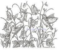 Hummingbird Pair Bluebell Flowers Wood Mounted Rubber Stamp NORTHWOODS P6922 New