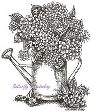 Hydrangeas Flowers Watering Can Wood Mounted Rubber Stamp NORTHWOODS P9477 New