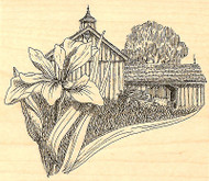 Iris Flower Country BARN Wood Mounted Rubber Stamp Impression Obsession J1156