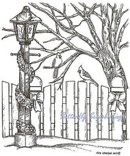 Lamppost Fence & Cardinals, Wood Mounted Rubber Stamp NORTHWOODS - NEW, P7672