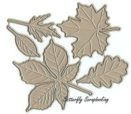 LARGE 5 Leaves Set American made Steel Dies by Impression Obsession DIE030-S New