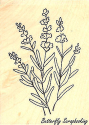 Lavender Flowers Wood Mounted Rubber Stamp Impression Obsession Stamp D9258 New