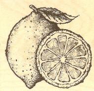 Lemon & Lemon Slice, Wood Mounted Rubber Stamp IMPRESSION OBSESSION - NEW, D4337
