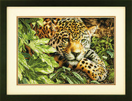 Leopard Repose Gold Counted Cross Stitch Dimensions Cross Stitch Kit 16x11 NEW
