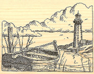 Lighthouse & Boat with Clouds Wood Mounted Rubber Stamp Impression Obsession NEW