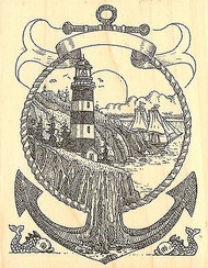 LIGHTHOUSE ANCHOR Wood Mounted Rubber Stamp Impression Obsession H1994 NEW
