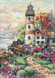 Lighthouse Beacon Day Gold Collection Petites Dimensions Cross Stitch Kit NEW