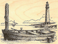 Lighthouse With Rowboat Wood Mounted Rubber Stamp Impression Obsession F1762 NEW