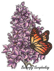 Lilac Flowers & Butterfly Cling Unmounted Rubber Stamp C.C. Designs JD1015 New