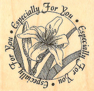 Lily Flower Circle Saying Wood Mounted Rubber Stamp Impression Obsession NEW
