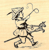 Little Boy Hobby Horse, Wood Mounted Rubber Stamp STAMPENDOUS, NEW - Q159