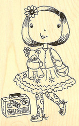 Little Girl Amanda Wood Mounted Rubber Stamp Impression Obsession NEW