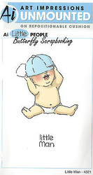 Little People Little Man Set Cling Unmounted Rubber Stamps Art Impressions NEW