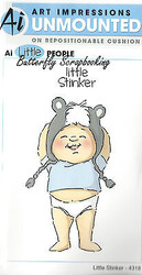 Little People Stinker Set Cling Unmounted Rubber Stamps AI Art Impressions NEW