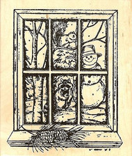 Looking Out At Snowy Friends, Wood Mounted Rubber Stamp NORTHWOODS - NEW, P8324