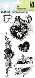 Love HEART FLOURISH Clear Unmounted Rubber Stamps Set INKADINKADO 97615 New