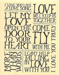 Love Song Collage, Wood Mounted Rubber Stamp IMPRESSION OBSESSION - NEW, L14354