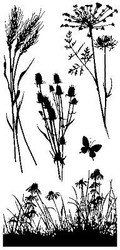 Meadow Flowers Set Clear Unmounted Rubber Stamp Set 5 Stamps INKADINKADO NEW