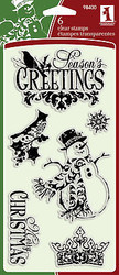 Merry CHRISTMAS Set Clear Unmounted Rubber Stamps Set INKADINKADO 98400 New