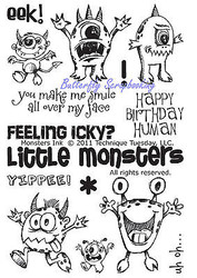MONSTERS Ink Stamp Set Clear Unmounted Rubber Stamps TECHNIQUE TUESDAY New