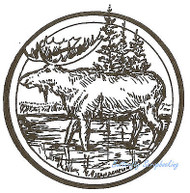 Moose Circle Wood Mounted Rubber Stamp Northwoods Rubber Stamp New