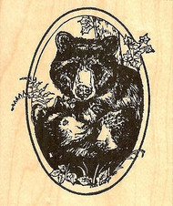 Mother Bear And Cubs Oval, Wood Mounted Rubber Stamp NORTHWOODS - NEW, P6868
