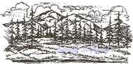 Mountain Foothills Trees Wood Mounted Rubber Stamp NORTHWOODS Stamp O1705 New