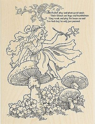 Mushroom Flower Fairy Freind Wood Mounted Rubber Stamp STAMPENDOUS R227 New