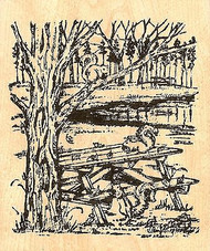Nora's Squirrel Picnic, Wood Mounted Rubber Stamp NORTHWOODS - NEW, P6732
