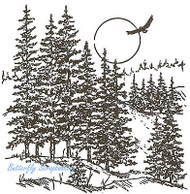 Northern Mountain Pines Wood Mounted Rubber Stamp Northwoods Rubber Stamp New