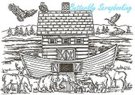 Northwoods Noahs Ark Scene Wood Mounted Rubber Stamp Northwoods Rubber Stamp New