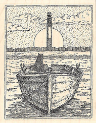 Oak Island Lighthouse Wood Mounted Rubber Stamp IMPRESSION OBSESSION- NEW, H1912