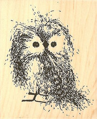OWL Feathery Owl Bird Wood Mounted Rubber Stamp Impression Obsession E9781 NEW