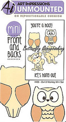 Owl Monkey Front & Back Mini Cling Unmounted Rubber Stamp AI Art Impressions NEW