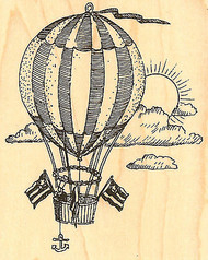 Patriotic HOT AIR BALLOON Wood Mounted Rubber Stamp Impression Obsession New